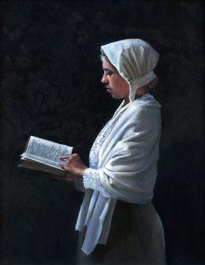 Model Frederieke als lezende vrouw