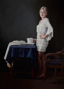Model als melkmeisje met stilleven milkmaid