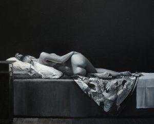 Model met kimono zwart wit