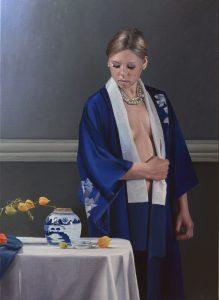 Portret model schilderij met stilleven 1
