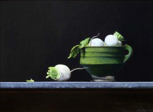 Stilleven met meirapen in groene pot