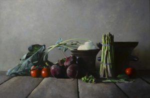 Stilleven met vijzels en groenten